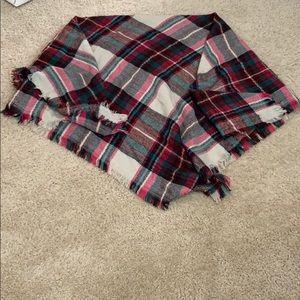Wool plaid multi colored scarf